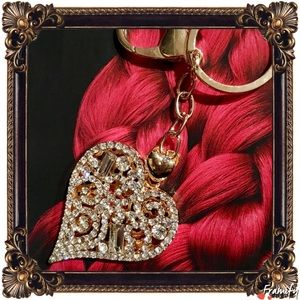 Accessories - Crystal Cut Out Golden Heart Purse/Key Chain
